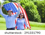 cheerful couple with american... | Shutterstock . vector #291331790