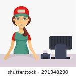 vector cashier. flat cartoon... | Shutterstock .eps vector #291348230