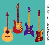 set of different guitars.... | Shutterstock .eps vector #291349103