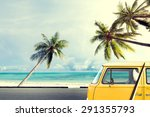 vintage car on the beach with a ... | Shutterstock . vector #291355793