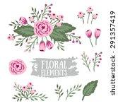 hand drawn vintage floral... | Shutterstock .eps vector #291357419