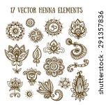 set of henna elements based on... | Shutterstock .eps vector #291357836