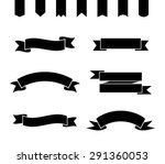 set of monochrome ribbons and... | Shutterstock .eps vector #291360053