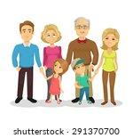 vector full family flat cartoon ... | Shutterstock .eps vector #291370700