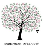 tree with pink flowers on white ... | Shutterstock .eps vector #291373949