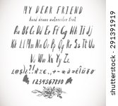 gray vector watercolor alphabet ...   Shutterstock .eps vector #291391919