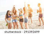 multiracial group of friends... | Shutterstock . vector #291392699