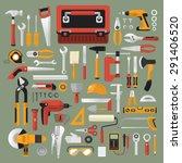 flat design concept hand work...   Shutterstock .eps vector #291406520