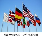 the g8 countries flags waving... | Shutterstock . vector #291408488