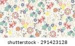 Seamless Pattern Sketch Flower...