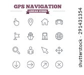 Gps Navigation Linear Icons Se...