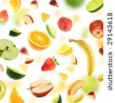 huge healthy fruit explosion   Shutterstock . vector #29143618