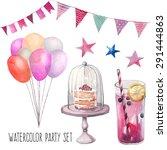 watercolor happy birthday party ... | Shutterstock .eps vector #291444863