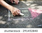 children draw in the park with... | Shutterstock . vector #291452840