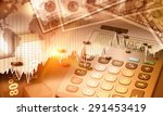 global economy graph and us... | Shutterstock . vector #291453419