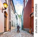 narrow medieval street  riga ... | Shutterstock . vector #291455063