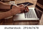 young man working from home...   Shutterstock . vector #291467678