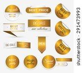 collection of golden premium...   Shutterstock .eps vector #291473993