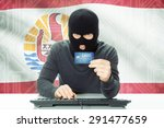 cybercrime concept with flag on ... | Shutterstock . vector #291477659