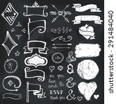 doodles decor element set... | Shutterstock .eps vector #291484040