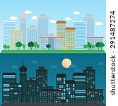 cityscape daytime and nighttime ...   Shutterstock .eps vector #291487274