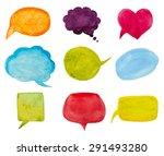 set of watercolor speech... | Shutterstock .eps vector #291493280