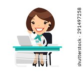 lady receptionist at the clinic.... | Shutterstock .eps vector #291497258