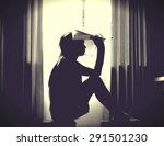 the silhouette of stressed and... | Shutterstock . vector #291501230
