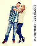 young attractive couple showing ... | Shutterstock . vector #291502079