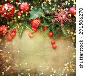 christmas retro card border... | Shutterstock . vector #291506270