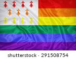 Small photo of Homo Atao flag on fabric texture,retro vintage style