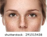 eyes woman freckle happy young ... | Shutterstock . vector #291515438