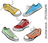 set of sport shoes or sneakers... | Shutterstock .eps vector #291536690
