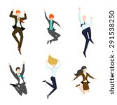 jumping business people in the... | Shutterstock .eps vector #291538250