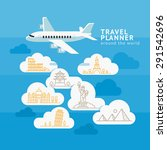 travel planner around the world.... | Shutterstock .eps vector #291542696