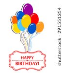 happy birthday card. colorful... | Shutterstock .eps vector #291551354