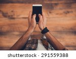staying in touch. top view of... | Shutterstock . vector #291559388