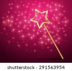 Golden Magic Wand On Pink...