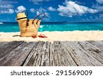 Beautiful Beach With Bag At...