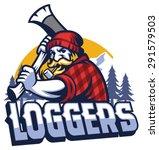 lumberjack mascot swinging the... | Shutterstock .eps vector #291579503