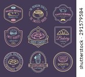 vector set of vintage bakery... | Shutterstock .eps vector #291579584