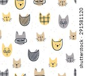 Stock vector various cute cats seamless pattern 291581120