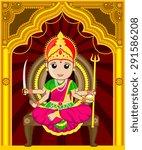 maa santoshi   cartoon indian... | Shutterstock .eps vector #291586208