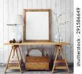 mock up poster frame in hipster ... | Shutterstock . vector #291586649