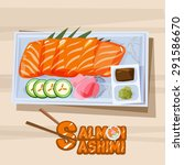 salmon sashimi in plate with.... | Shutterstock .eps vector #291586670