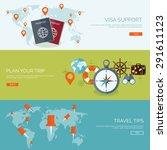 flat travel background. summer... | Shutterstock .eps vector #291611123