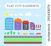 flat city elements set.... | Shutterstock .eps vector #291633074