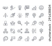 Thin line icons set. Icons for business, management, finance, strategy, planning, analytics, banking, communication, social network, affiliate marketing.   | Shutterstock vector #291638834