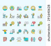 Set Of Line Color People Icons...