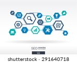 seo network. hexagon abstract... | Shutterstock .eps vector #291640718